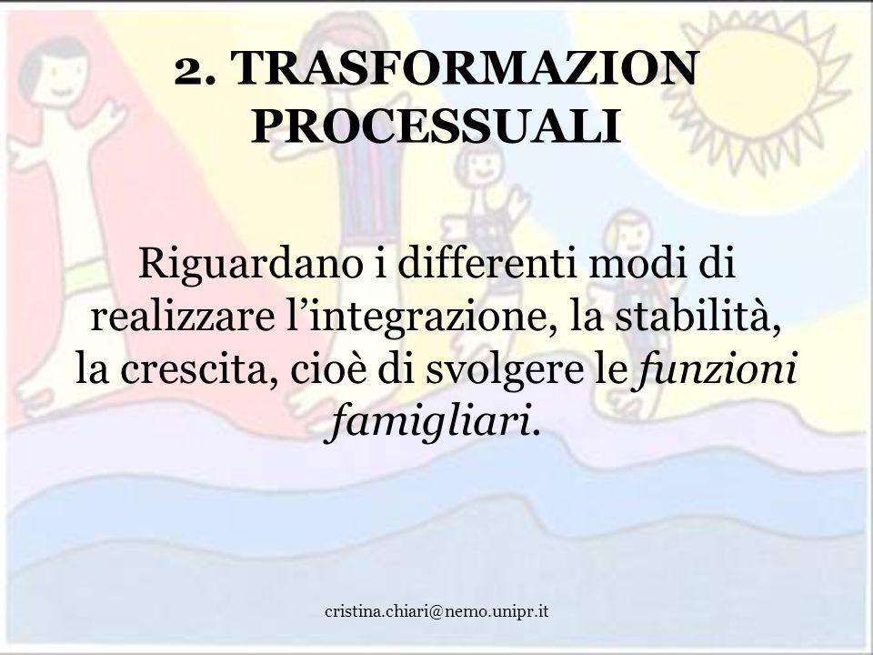 cristina.chiari@nemo.unipr.it 2. TRASFORMAZION PROCESSUALI Riguardano i differenti modi di realizzare lintegrazione, la stabilità, la crescita, cioè d