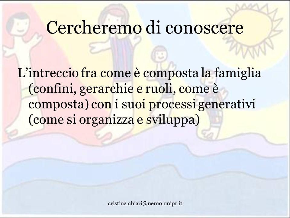 cristina.chiari@nemo.unipr.it Cercheremo di conoscere Lintreccio fra come è composta la famiglia (confini, gerarchie e ruoli, come è composta) con i s