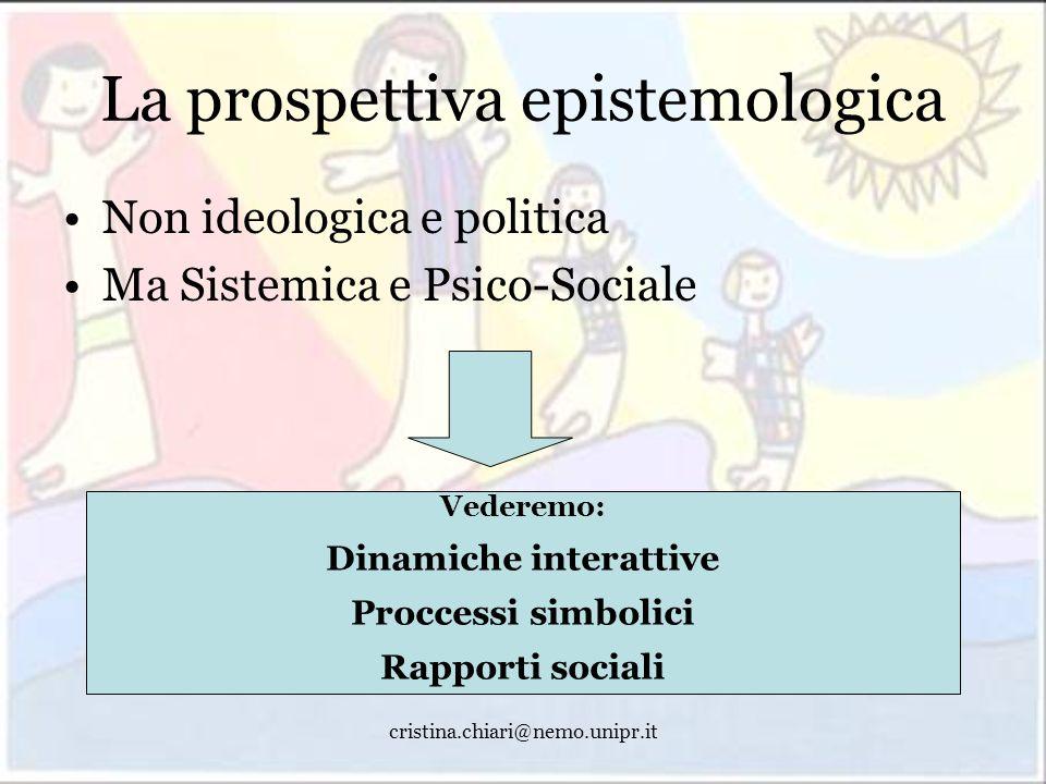 cristina.chiari@nemo.unipr.it La prospettiva epistemologica Non ideologica e politica Ma Sistemica e Psico-Sociale Vederemo: Dinamiche interattive Pro