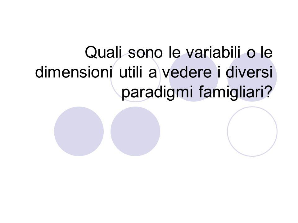 Quali sono le variabili o le dimensioni utili a vedere i diversi paradigmi famigliari?