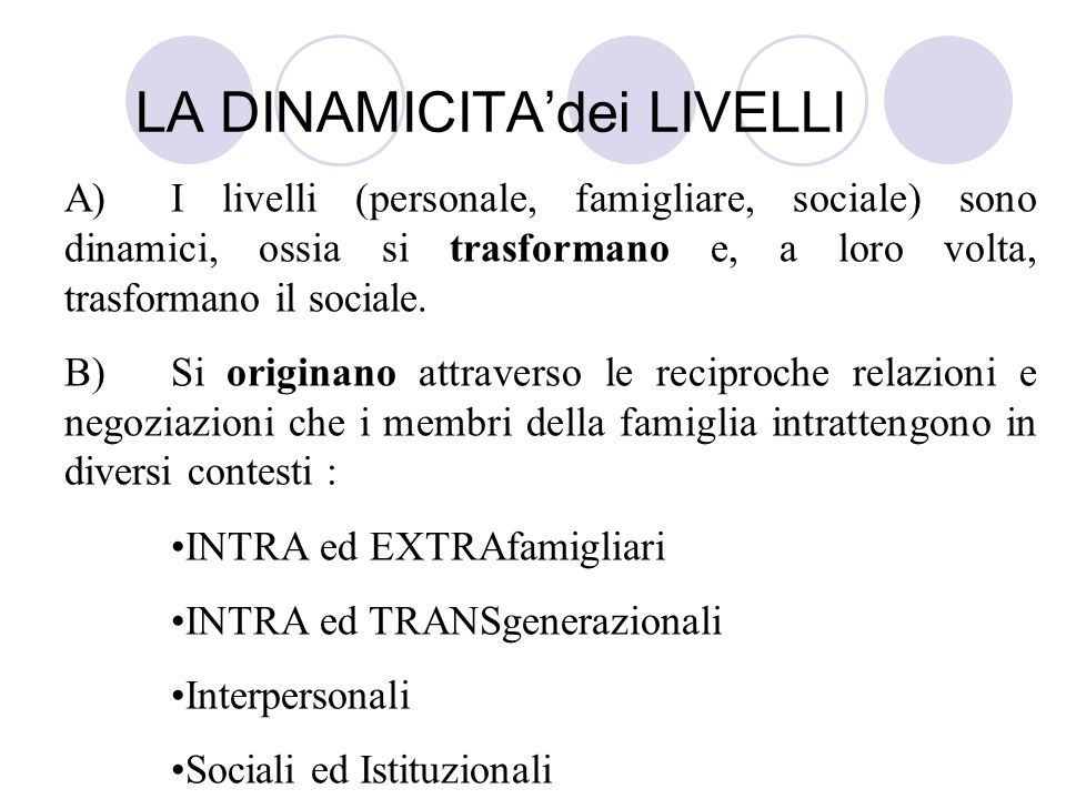 LA DINAMICITAdei LIVELLI A)I livelli (personale, famigliare, sociale) sono dinamici, ossia si trasformano e, a loro volta, trasformano il sociale. B)S