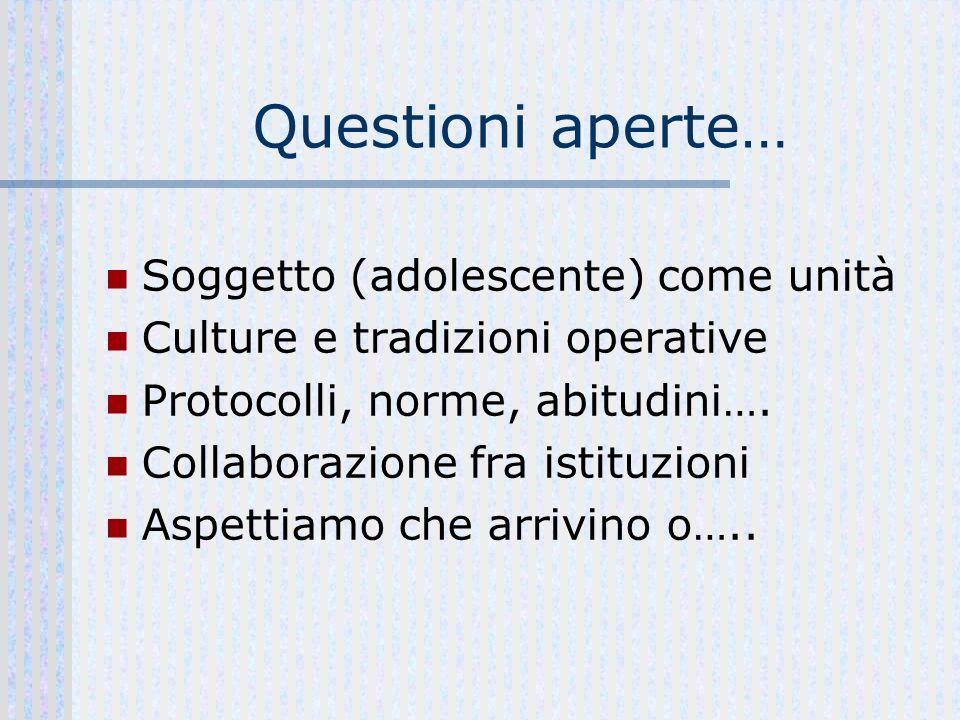 Questioni aperte… Soggetto (adolescente) come unità Culture e tradizioni operative Protocolli, norme, abitudini….