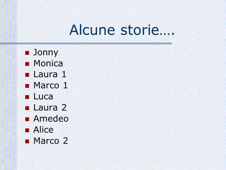 Alcune storie…. Jonny Monica Laura 1 Marco 1 Luca Laura 2 Amedeo Alice Marco 2