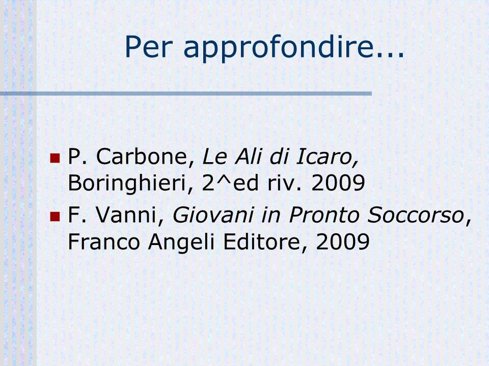 Per approfondire... P. Carbone, Le Ali di Icaro, Boringhieri, 2^ed riv. 2009 F. Vanni, Giovani in Pronto Soccorso, Franco Angeli Editore, 2009