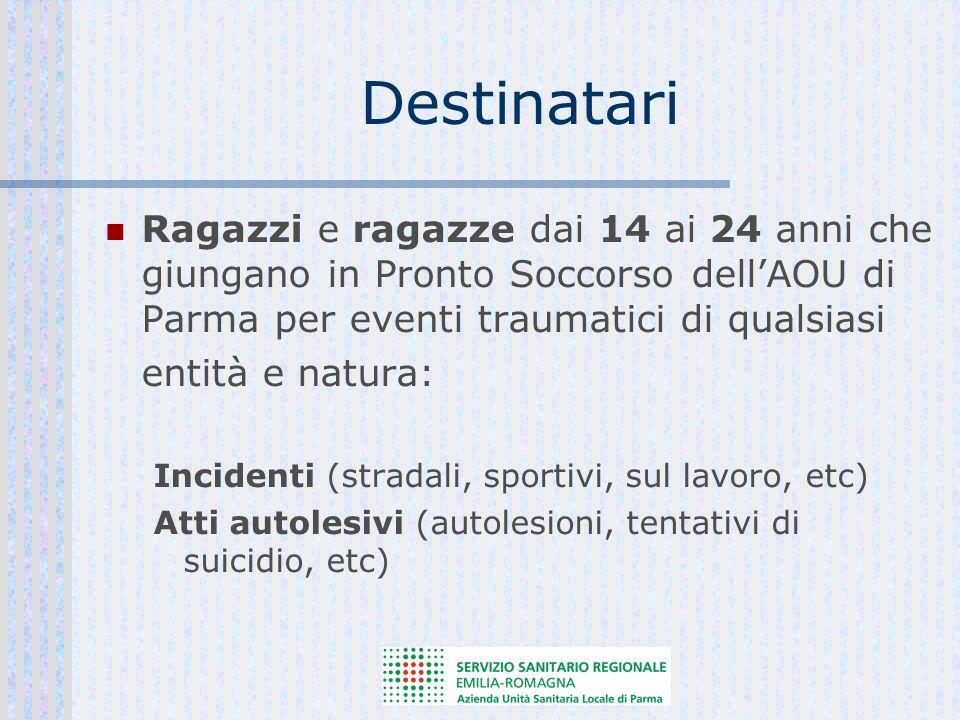 Destinatari Ragazzi e ragazze dai 14 ai 24 anni che giungano in Pronto Soccorso dellAOU di Parma per eventi traumatici di qualsiasi entità e natura: Incidenti (stradali, sportivi, sul lavoro, etc) Atti autolesivi (autolesioni, tentativi di suicidio, etc)