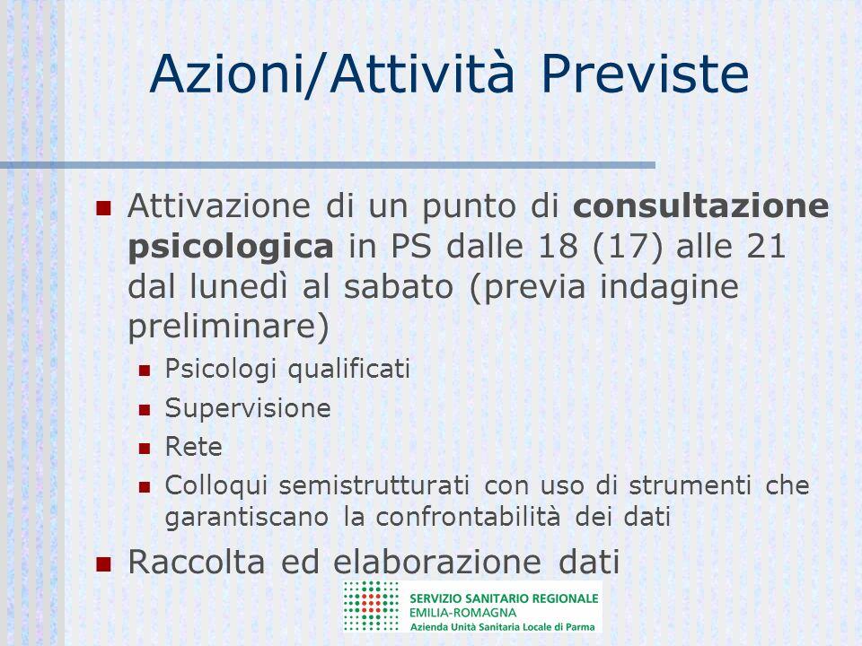 Azioni/Attività Previste Attivazione di un punto di consultazione psicologica in PS dalle 18 (17) alle 21 dal lunedì al sabato (previa indagine prelim