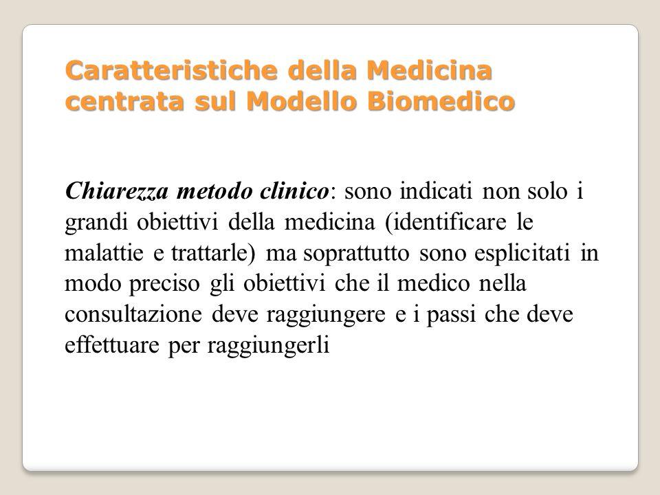 Chiarezza metodo clinico: sono indicati non solo i grandi obiettivi della medicina (identificare le malattie e trattarle) ma soprattutto sono esplicit