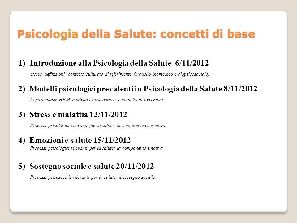1)Introduzione alla Psicologia della Salute 6/11/2012 Storia, definizioni, contesto culturale di riferimento (modello biomedico e biopsicosociale) 2)
