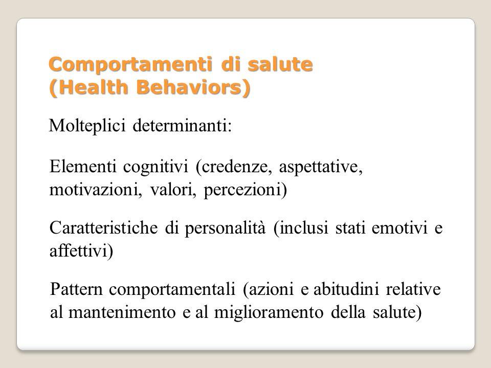 Molteplici determinanti: Elementi cognitivi (credenze, aspettative, motivazioni, valori, percezioni) Caratteristiche di personalità (inclusi stati emo