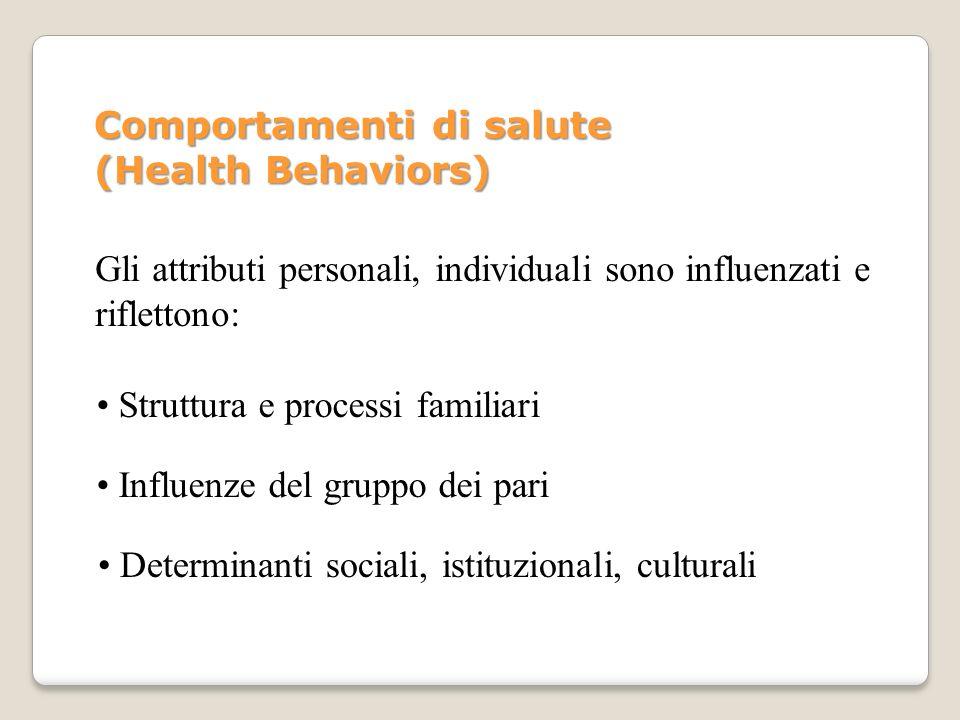 Gli attributi personali, individuali sono influenzati e riflettono: Struttura e processi familiari Influenze del gruppo dei pari Determinanti sociali,