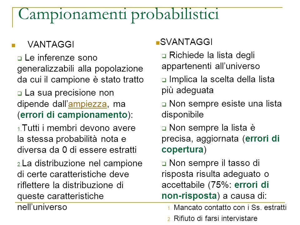 Campionamenti probabilistici VANTAGGI Le inferenze sono generalizzabili alla popolazione da cui il campione è stato tratto La sua precisione non dipen