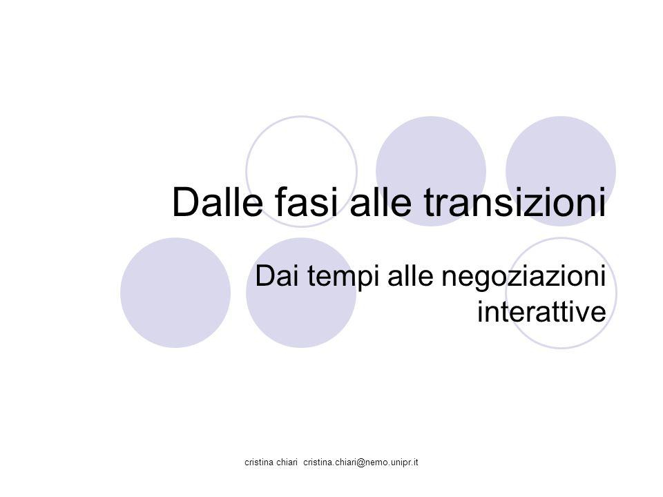 cristina chiari cristina.chiari@nemo.unipr.it Dalle fasi alle transizioni Dai tempi alle negoziazioni interattive
