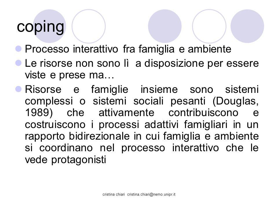 cristina chiari cristina.chiari@nemo.unipr.it coping Processo interattivo fra famiglia e ambiente Le risorse non sono lì a disposizione per essere vis
