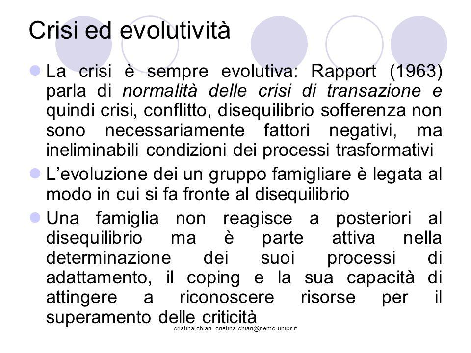 cristina chiari cristina.chiari@nemo.unipr.it Crisi ed evolutività La crisi è sempre evolutiva: Rapport (1963) parla di normalità delle crisi di trans