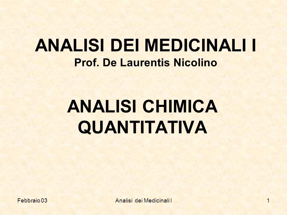 Febbraio 03Analisi dei Medicinali I1 ANALISI DEI MEDICINALI I Prof. De Laurentis Nicolino ANALISI CHIMICA QUANTITATIVA