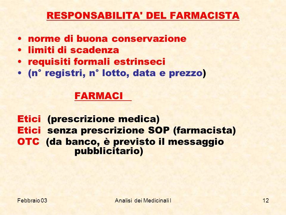Febbraio 03Analisi dei Medicinali I12 RESPONSABILITA' DEL FARMACISTA norme di buona conservazione limiti di scadenza requisiti formali estrinseci (n°