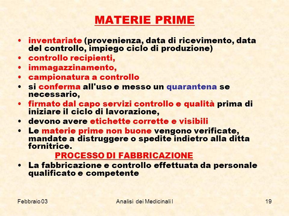 Febbraio 03Analisi dei Medicinali I19 MATERIE PRIME inventariate (provenienza, data di ricevimento, data del controllo, impiego ciclo di produzione) c