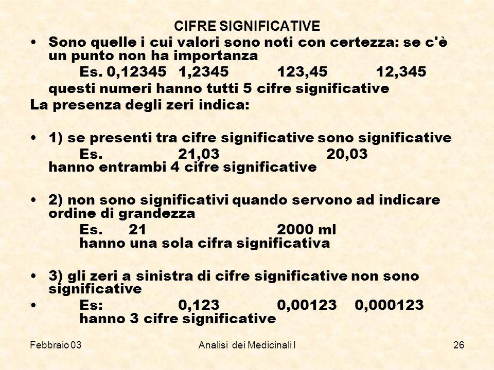 Febbraio 03Analisi dei Medicinali I26 CIFRE SIGNIFICATIVE Sono quelle i cui valori sono noti con certezza: se c'è un punto non ha importanza Es. 0,123