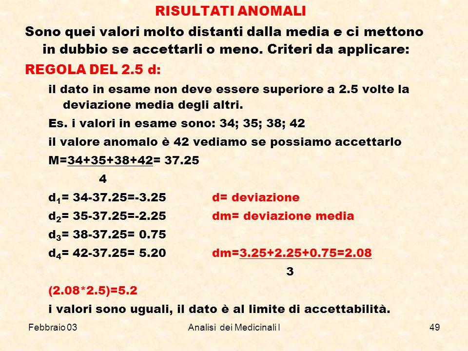 Febbraio 03Analisi dei Medicinali I49 RISULTATI ANOMALI Sono quei valori molto distanti dalla media e ci mettono in dubbio se accettarli o meno. Crite