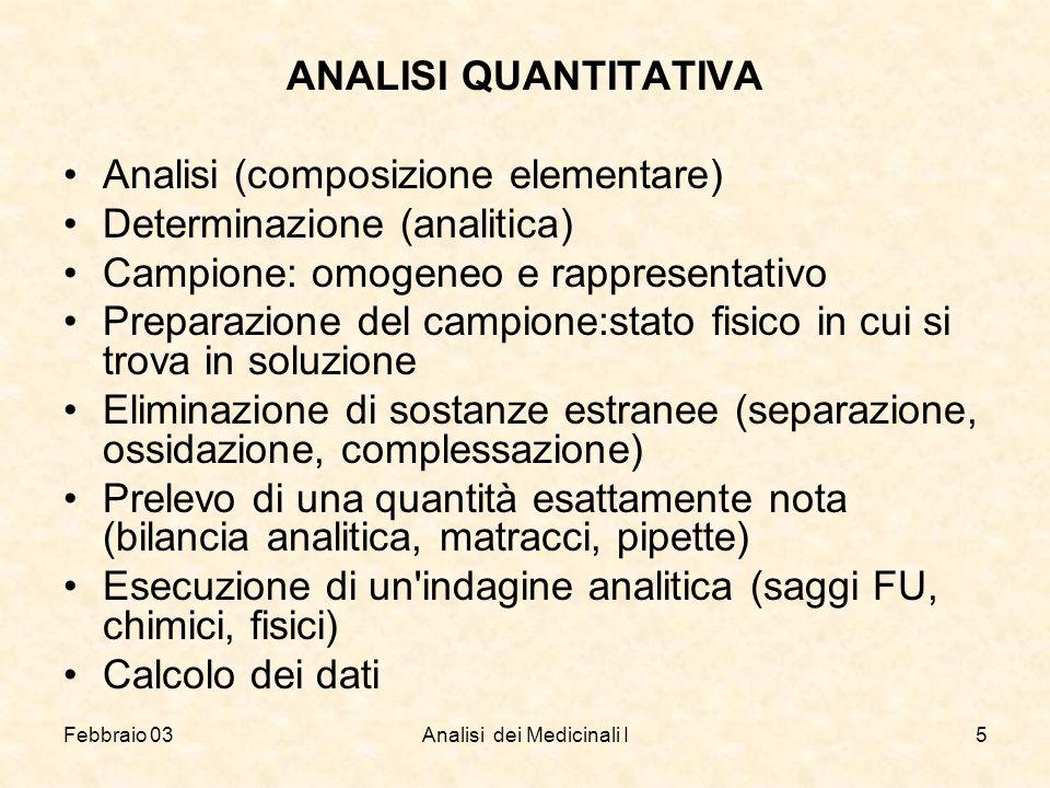 Febbraio 03Analisi dei Medicinali I5 ANALISI QUANTITATIVA Analisi (composizione elementare) Determinazione (analitica) Campione: omogeneo e rappresent
