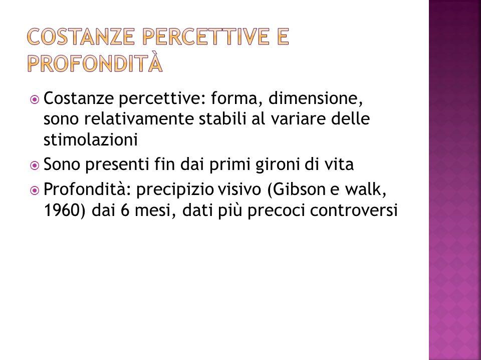 Costanze percettive: forma, dimensione, sono relativamente stabili al variare delle stimolazioni Sono presenti fin dai primi gironi di vita Profondità