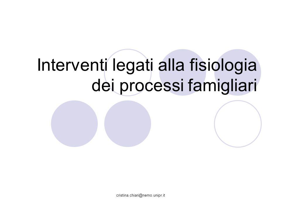 cristina.chiari@nemo.unipr.it Interventi legati alla fisiologia dei processi famigliari