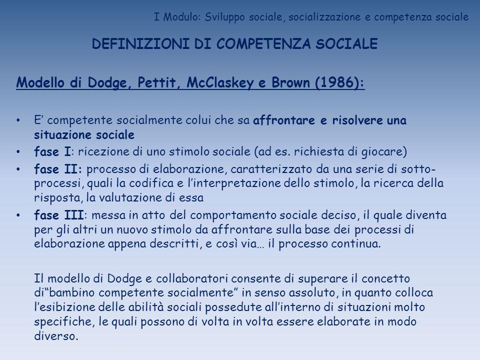 I Modulo: Sviluppo sociale, socializzazione e competenza sociale DEFINIZIONI DI COMPETENZA SOCIALE Modello di Dodge, Pettit, McClaskey e Brown (1986):