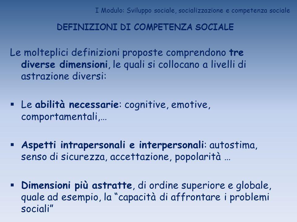 I Modulo: Sviluppo sociale, socializzazione e competenza sociale DEFINIZIONI DI COMPETENZA SOCIALE Le molteplici definizioni proposte comprendono tre