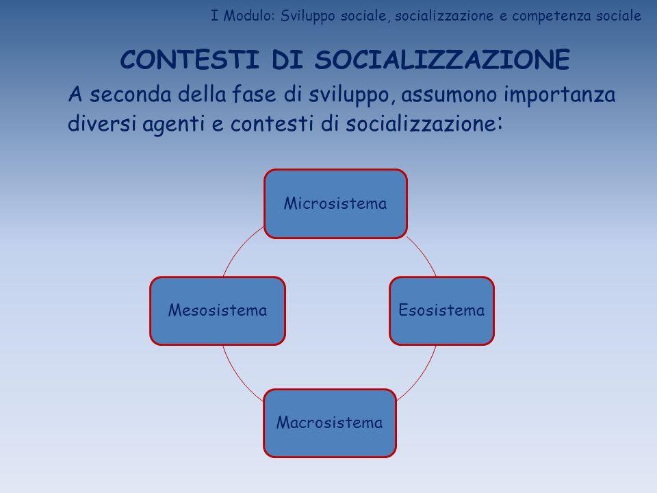 I Modulo: Sviluppo sociale, socializzazione e competenza sociale CONTESTI DI SOCIALIZZAZIONE A seconda della fase di sviluppo, assumono importanza div