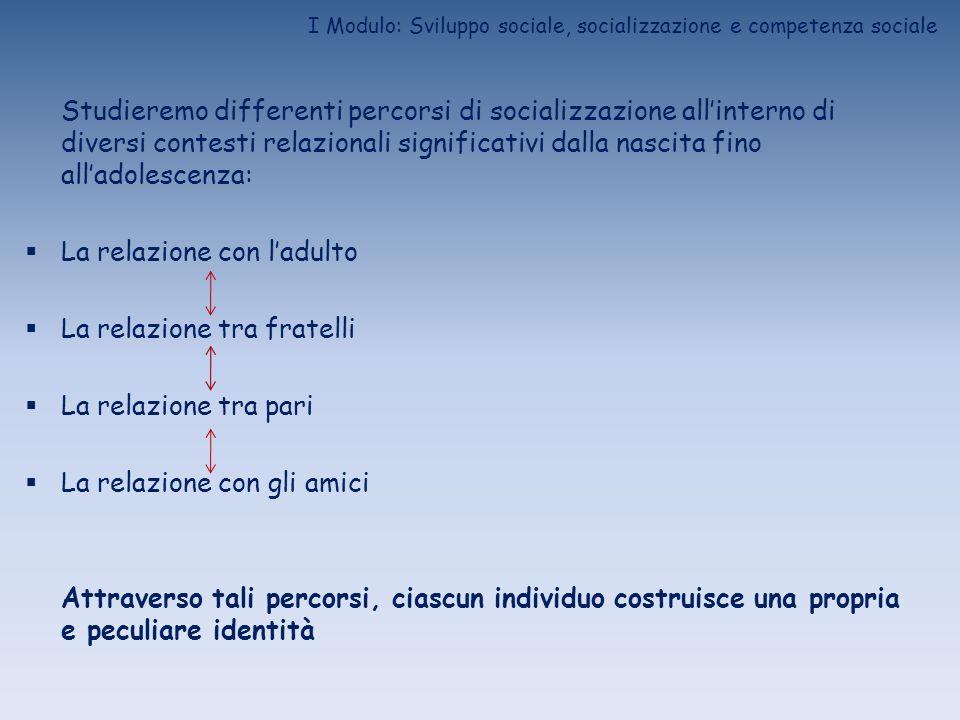 I Modulo: Sviluppo sociale, socializzazione e competenza sociale Studieremo differenti percorsi di socializzazione allinterno di diversi contesti rela