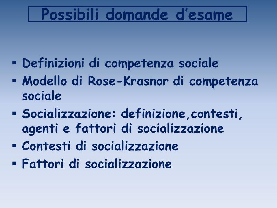 Possibili domande desame Definizioni di competenza sociale Modello di Rose-Krasnor di competenza sociale Socializzazione: definizione,contesti, agenti