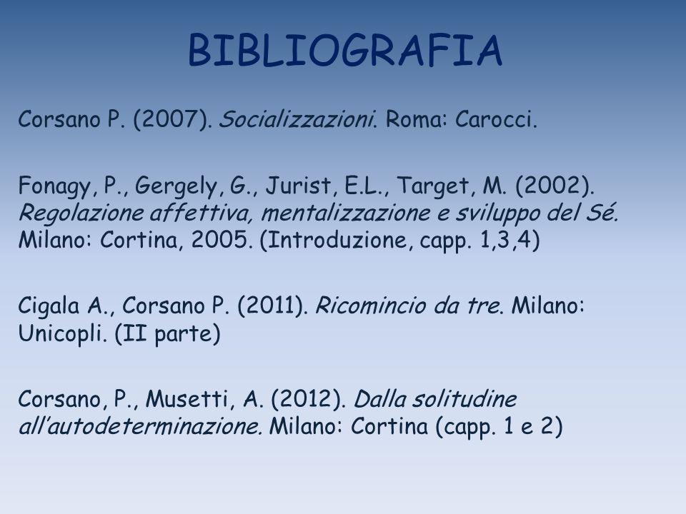 BIBLIOGRAFIA Corsano P. (2007). Socializzazioni. Roma: Carocci. Fonagy, P., Gergely, G., Jurist, E.L., Target, M. (2002). Regolazione affettiva, menta