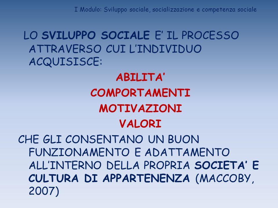 I Modulo: Sviluppo sociale, socializzazione e competenza sociale LO SVILUPPO SOCIALE E IL PROCESSO ATTRAVERSO CUI LINDIVIDUO ACQUISISCE: ABILITA COMPO
