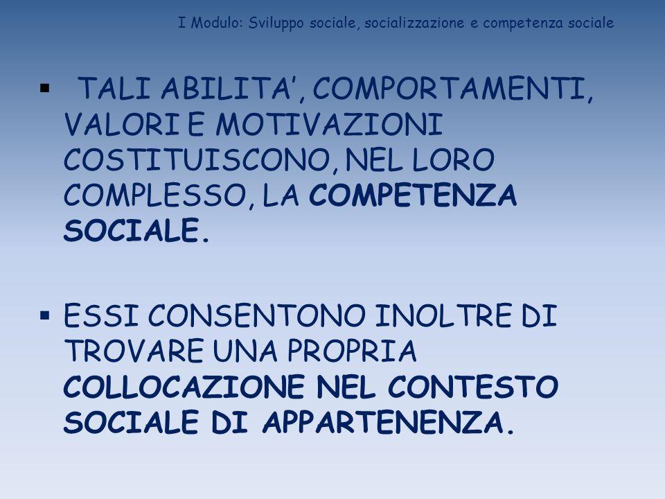I Modulo: Sviluppo sociale, socializzazione e competenza sociale LO SVILUPPO SOCIALE, QUINDI, E IL PROCESSO ATTRAVERSO CUI: SI ACQUISISCE/COSTRUISCE LA COMPETENZA SOCIALE SI ATTUA IL PROCESSO DI SOCIALIZZAZIONE SI COSTRUISCE IL SISTEMA DEL SE