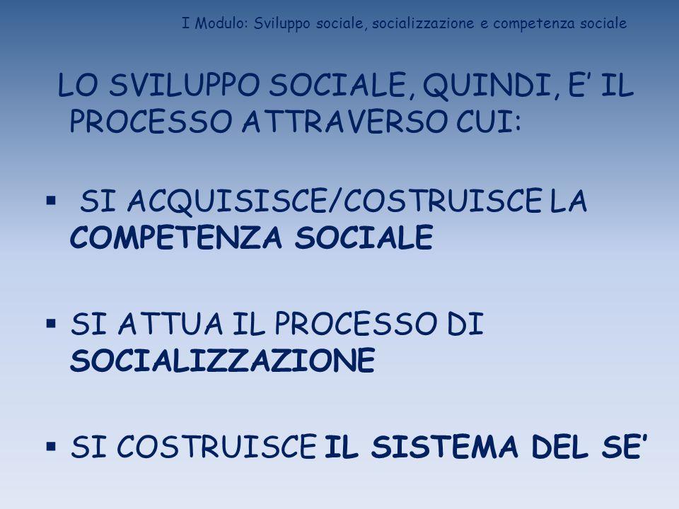 I Modulo: Sviluppo sociale, socializzazione e competenza sociale LO SVILUPPO SOCIALE, QUINDI, E IL PROCESSO ATTRAVERSO CUI: SI ACQUISISCE/COSTRUISCE L