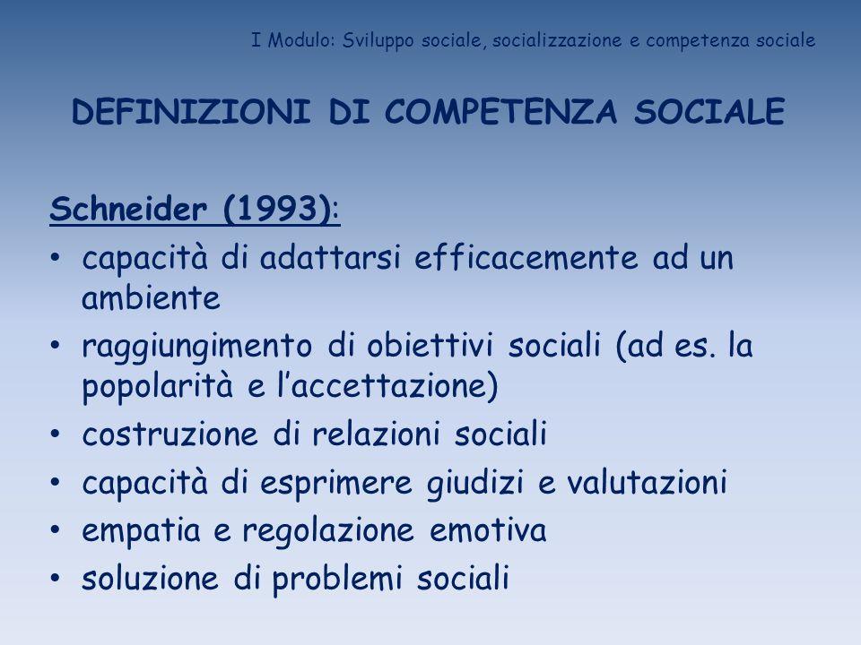 I Modulo: Sviluppo sociale, socializzazione e competenza sociale DEFINIZIONI DI COMPETENZA SOCIALE Schneider (1993): capacità di adattarsi efficacemen