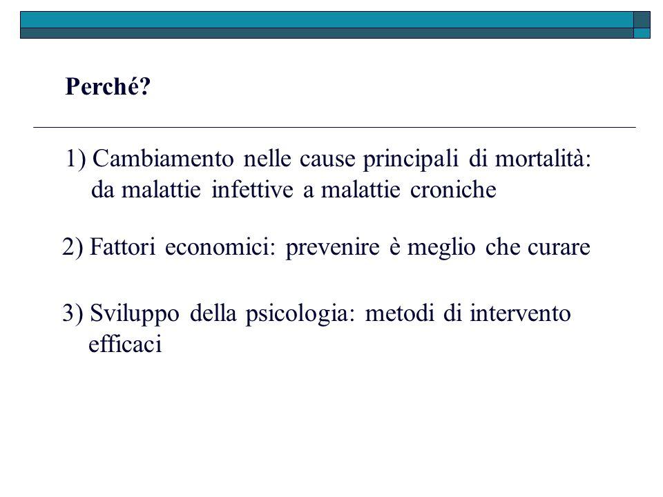 Perché? 1) Cambiamento nelle cause principali di mortalità: da malattie infettive a malattie croniche 2) Fattori economici: prevenire è meglio che cur