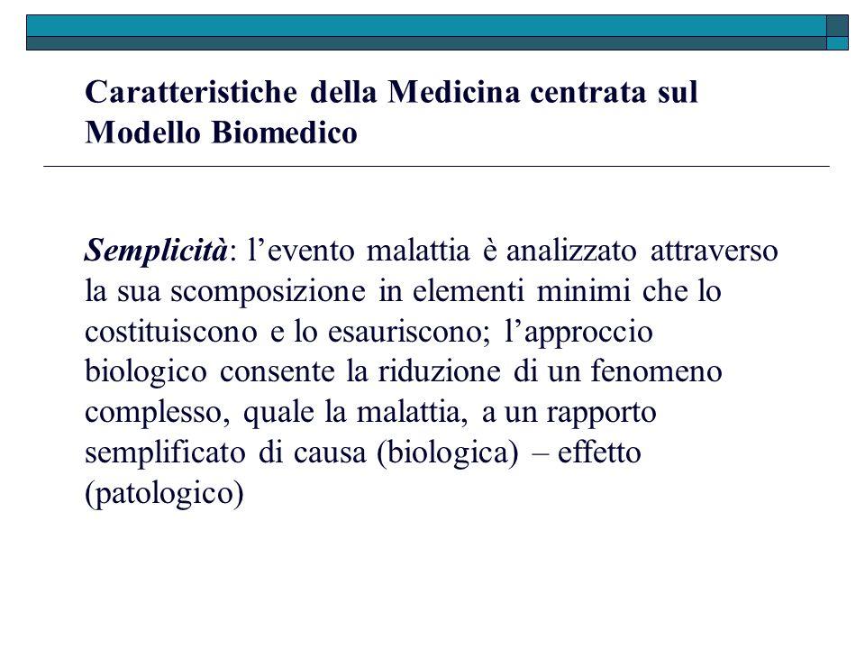 Caratteristiche della Medicina centrata sul Modello Biomedico Semplicità: levento malattia è analizzato attraverso la sua scomposizione in elementi mi