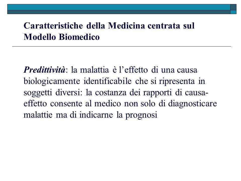 Caratteristiche della Medicina centrata sul Modello Biomedico Predittività: la malattia è leffetto di una causa biologicamente identificabile che si r