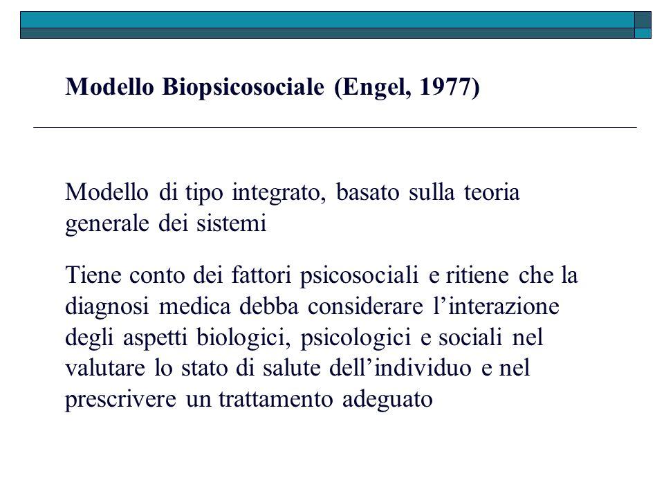 Modello Biopsicosociale (Engel, 1977) Modello di tipo integrato, basato sulla teoria generale dei sistemi Tiene conto dei fattori psicosociali e ritie