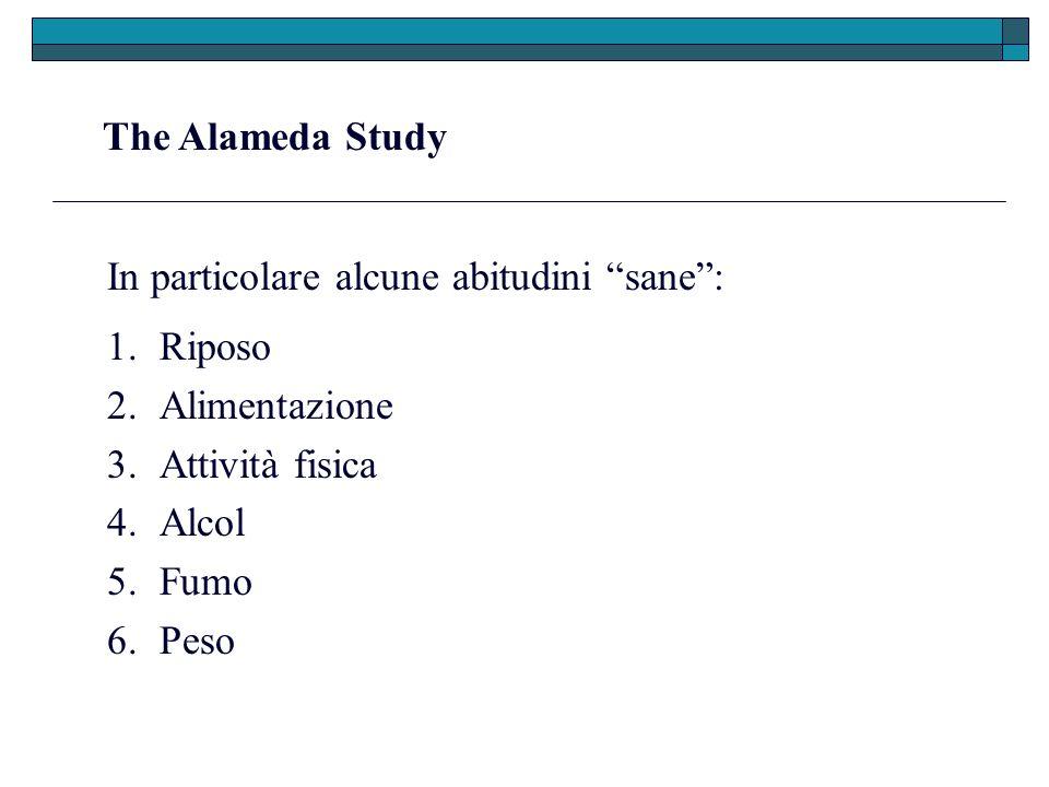 The Alameda Study In particolare alcune abitudini sane: 1.Riposo 2.Alimentazione 3.Attività fisica 4.Alcol 5.Fumo 6.Peso