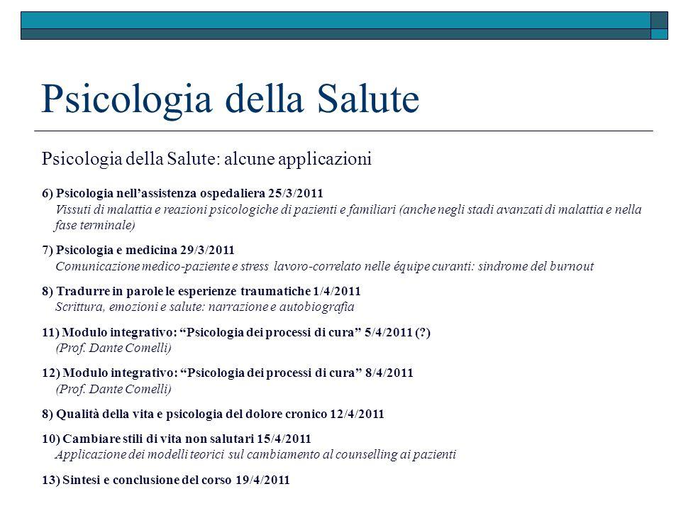 Psicologia della Salute Psicologia della Salute: alcune applicazioni 6) Psicologia nellassistenza ospedaliera 25/3/2011 Vissuti di malattia e reazioni