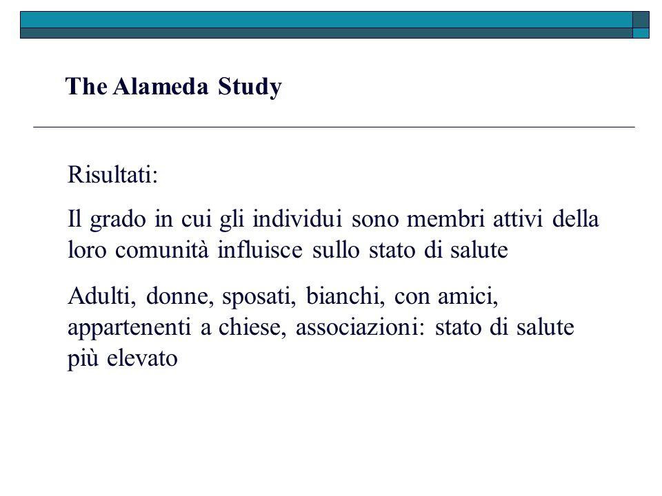 The Alameda Study Risultati: Il grado in cui gli individui sono membri attivi della loro comunità influisce sullo stato di salute Adulti, donne, sposa