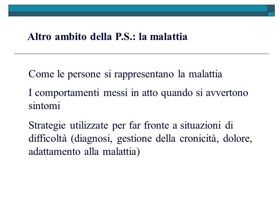 Altro ambito della P.S.: la malattia Come le persone si rappresentano la malattia I comportamenti messi in atto quando si avvertono sintomi Strategie