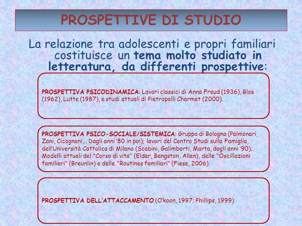 PROSPETTIVE DI STUDIO La relazione tra adolescenti e propri familiari costituisce un tema molto studiato in letteratura, da differenti prospettive: PR