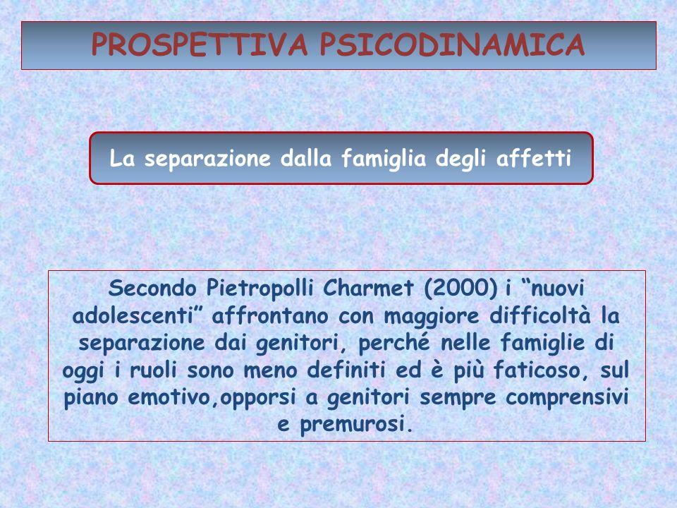 PROSPETTIVA PSICODINAMICA La separazione dalla famiglia degli affetti Secondo Pietropolli Charmet (2000) i nuovi adolescenti affrontano con maggiore d