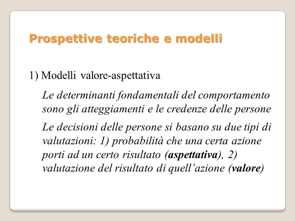 Prospettive teoriche e modelli 1) Modelli valore-aspettativa Le determinanti fondamentali del comportamento sono gli atteggiamenti e le credenze delle