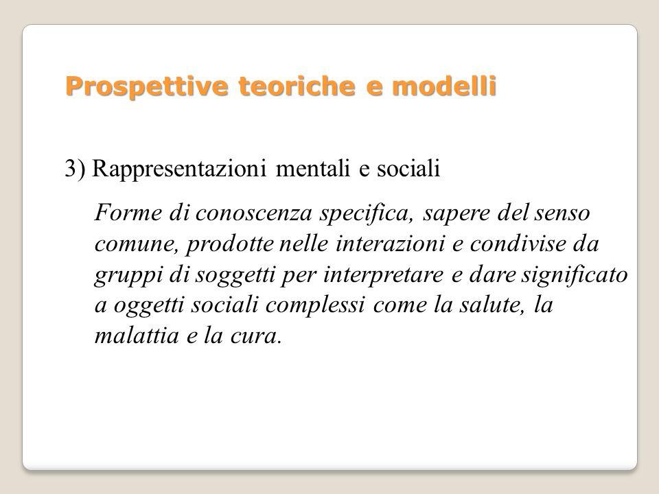 1) Modelli valore-aspettativa 2) Modelli integrati 3) Rappresentazioni mentali e rappresentazioni sociali - Modello delle credenze sulla salute (HBM) - Teoria della motivazione a proteggersi - Teoria del comportamento pianificato (TCP) - Modelli processuali del cambiamento dei comportamenti - Modello di Conner e Norman, 1995 - Modello di Rutter, Quine e Chesham, 1993 - Modello di Brouchon-Schweitzer, 1994 - Leventhal, Meyer e Nerenz, 1980 - Moscovici 1961 Prospettive teoriche e modelli