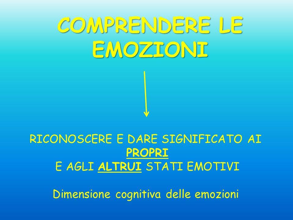 COMPRENDERE LE EMOZIONI RICONOSCERE E DARE SIGNIFICATO AI PROPRI E AGLI ALTRUI STATI EMOTIVI Dimensione cognitiva delle emozioni