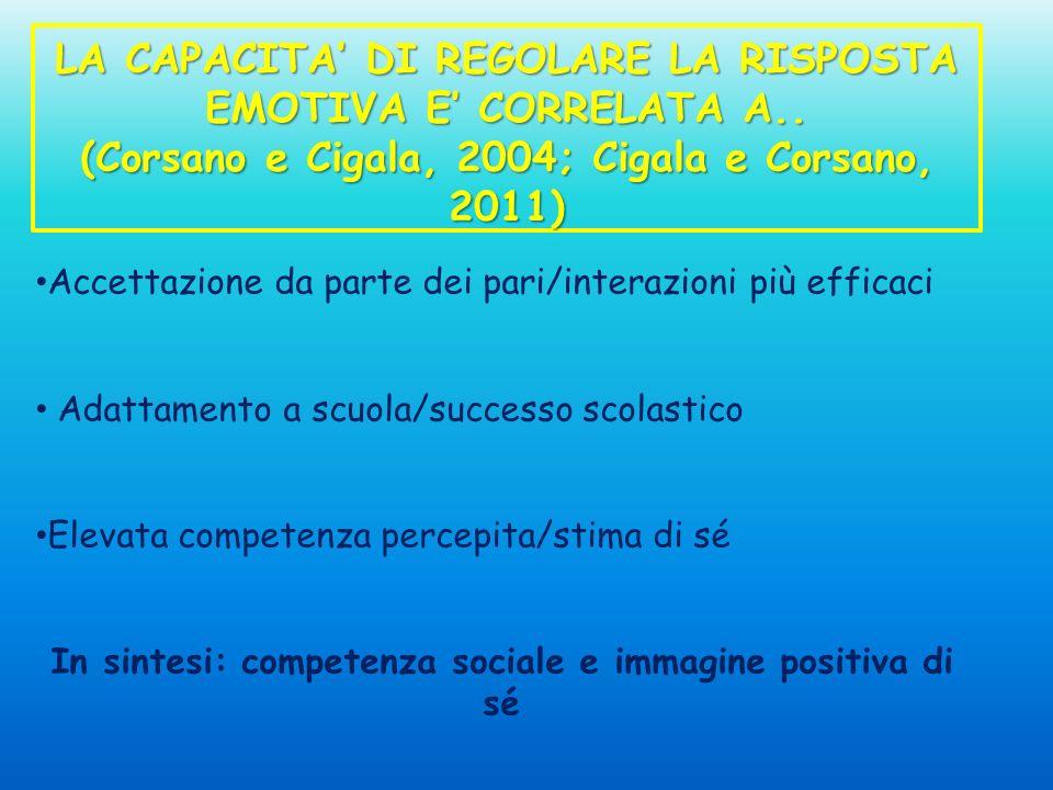 LA CAPACITA DI REGOLARE LA RISPOSTA EMOTIVA E CORRELATA A.. (Corsano e Cigala, 2004; Cigala e Corsano, 2011) Accettazione da parte dei pari/interazion